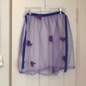 Purple mesh apron with flowers